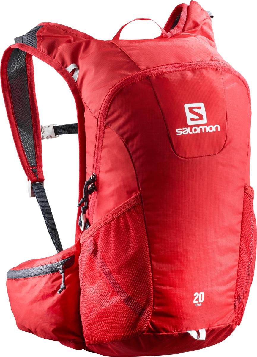 Рюкзак спортивный Salomon Bag Trail 20, цвет: красный. L40133800L40133800Если вещь работает - ее не нужно исправлять! Давно полюбившийся бегунам рюкзак получил новый обтекаемый силуэт. Bag Trail 20 сбалансированно распределяет нагрузку, прост в использовании, предлагает быстрый доступ в основное отделение и набедренные карманы на поясе. Идеально подходит для забегов на средние дистанции и однодневных походов по любым маршрутам.Комфорт.Bag Trail 20 настолько легок и удобен, что вы едва чувствуете его вес.Устойчивость.Обтекаемый силуэт, широкий пояс и спинка Airvent Agility гарантируют устойчивость содержимого в движении.Универсальность.Bag Trail 20 - отличный компаньон для путешествий, походов, приключений и исследования новых мест.Особенности:-спинка Airvent Agility,-плечевые ремни из сетчатого материала 3D Airmesh,-регулируемый пояс,-регулируемый нагрудный ремень с указателем,-компрессионные стяжки,-1 основное отделение,-1 поясной карман на молнии,-1 карман для мусора,-2 боковых сетчатых кармана,-1 внутренний карман,-отделение для гидратора с системой фиксации,-система фиксации гидратора,-светоотражающие элементы.