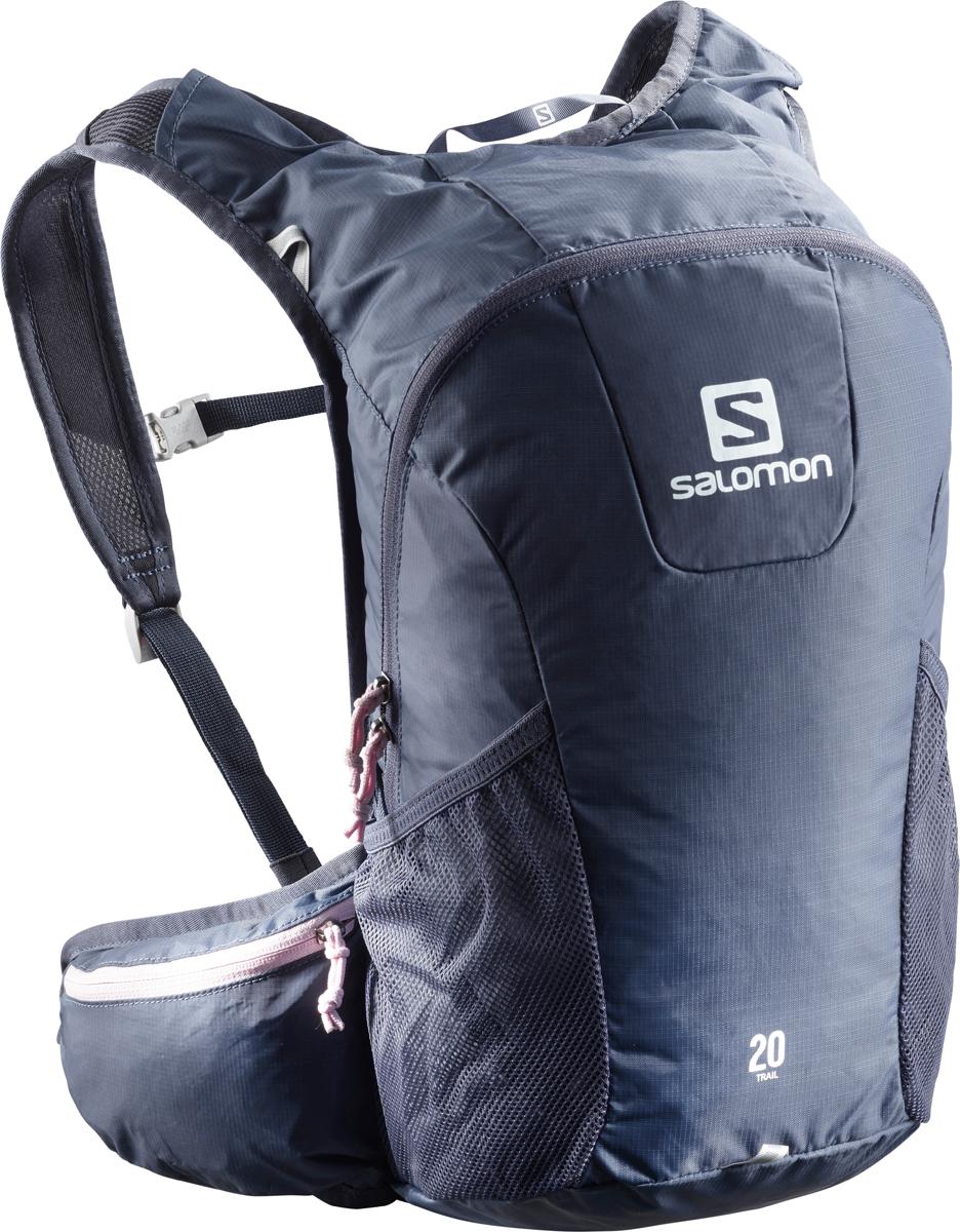 Рюкзак спортивный Salomon Bag Trail 20, цвет: темно-синий. L40134100L40134100;L40134100Если вещь работает - ее не нужно исправлять! Давно полюбившийся бегунам рюкзак получил новый обтекаемый силуэт. Bag Trail 20 сбалансированно распределяет нагрузку, прост в использовании, предлагает быстрый доступ в основное отделение и набедренные карманы на поясе. Идеально подходит для забегов на средние дистанции и однодневных походов по любым маршрутам.Комфорт.Bag Trail 20 настолько легок и удобен, что вы едва чувствуете его вес.Устойчивость.Обтекаемый силуэт, широкий пояс и спинка Airvent Agility гарантируют устойчивость содержимого в движении.Универсальность.Bag Trail 20 - отличный компаньон для путешествий, походов, приключений и исследования новых мест.Особенности:-спинка Airvent Agility,-плечевые ремни из сетчатого материала 3D Airmesh,-регулируемый пояс,-регулируемый нагрудный ремень с указателем,-компрессионные стяжки,-1 основное отделение,-1 поясной карман на молнии,-1 карман для мусора,-2 боковых сетчатых кармана,-1 внутренний карман,-отделение для гидратора с системой фиксации,-система фиксации гидратора,-светоотражающие элементы.