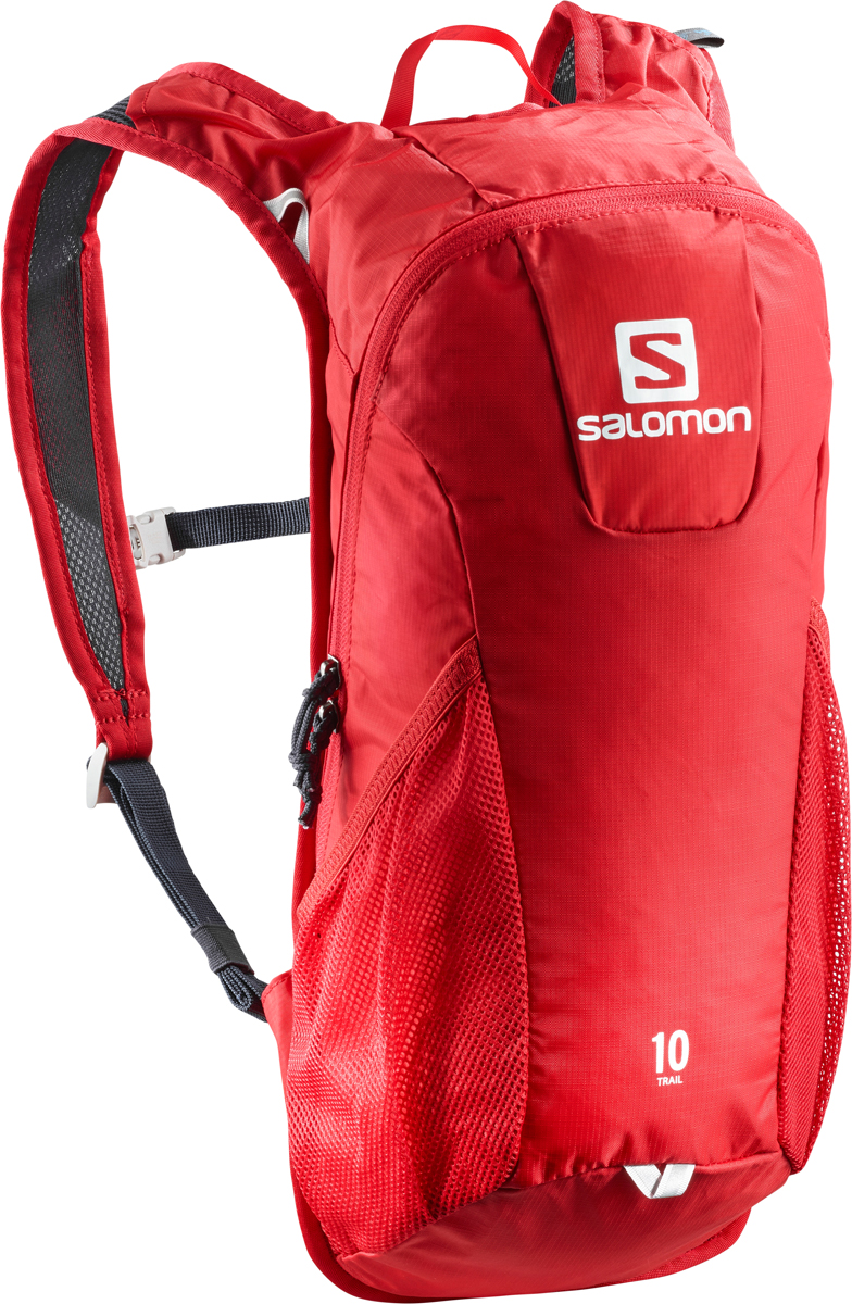 Рюкзак спортивный Salomon Bag Trail 10, цвет: красный. L40134300L40134300Если вещь работает - ее не нужно исправлять! Давно полюбившийся бегунам рюкзак получил новый обтекаемый силуэт. Bag Trail 10 сбалансированно распределяет нагрузку, прост в использовании, предлагает быстрый доступ в основное отделение и набедренные карманы на поясе. Идеально подходит для забегов на средние дистанции и однодневных походов по любым маршрутам. Комфорт.Bag Trail 10 настолько легок и удобен, что вы едва чувствуете его вес.Устойчивость.Обтекаемый силуэт, широкий пояс и спинка Airvent Agility гарантируют устойчивость содержимого в движении.Универсальность.Bag Trail 10 - отличный компаньон для путешествий, походов, приключений и исследования новых мест. Особенности:-спинка Airvent Agility,-плечевые ремни из сетчатого материала 3D Airmesh, -регулируемый пояс,-1 основное отделение,-2 боковых сетчатых кармана,-отделение для гидратора с системой фиксации,-система фиксации гидратора,-светоотражающие элементы,-эластичная сетчатая ткань 3D Mesh,-нейлон мини рипстоп 100D Nylon Mini Ripstop, водонепроницаемость 500 мм,-нейлон рипстоп 210D Fancy, водостойкость 500 мм,-материал 600D Heather с меланжевой фактурой, водостойкость 500 мм,-сетчатая ткань Flat Mesh.