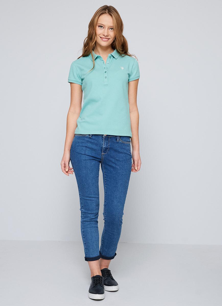 Поло женское U.S. Polo Assn., цвет: бирюзовый. G082GL0110GTP-IY07. Размер S (44)G082GL0110GTP-IY07Приталенная женская футболка-поло с отложным воротничком выполнена из 100% хлопка, отлично подойдет для создания повседневного образа.