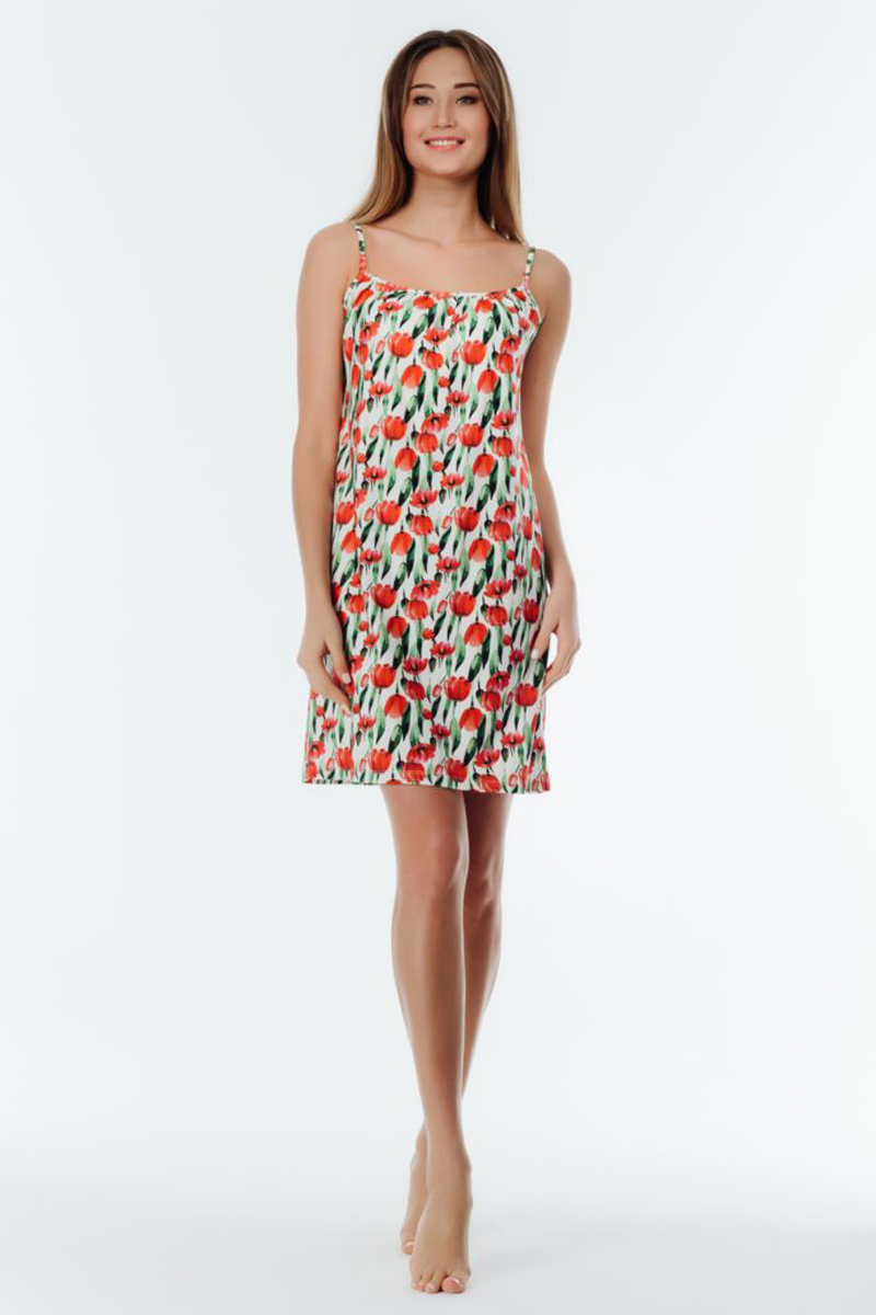 Ночная рубашка женская Melado Tulip, цвет: мультиколор. 8111L-60023.1S-055. Размер 508111L-60023.1S-055Изящная сорочка с ярким рисунком тюльпаны из мягкого полотна. Сорочка упакована в праздничную подарочную коробку.
