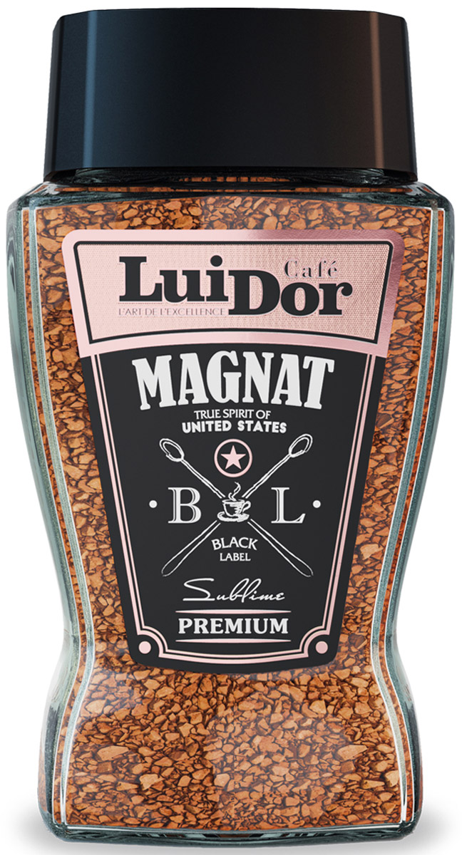 Luidor Magnat Black Label кофе растворимый, 95 г