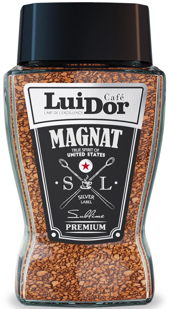 Luidor Magnat Silver Label кофе растворимый, 95 г62207-01Luidor Magnat Silver Label - это превосходное сочетание молотого и сублимированного кофе из отборных сортов арабики Tarrazu (Коста-Рика) и Supremo (Колумбия).