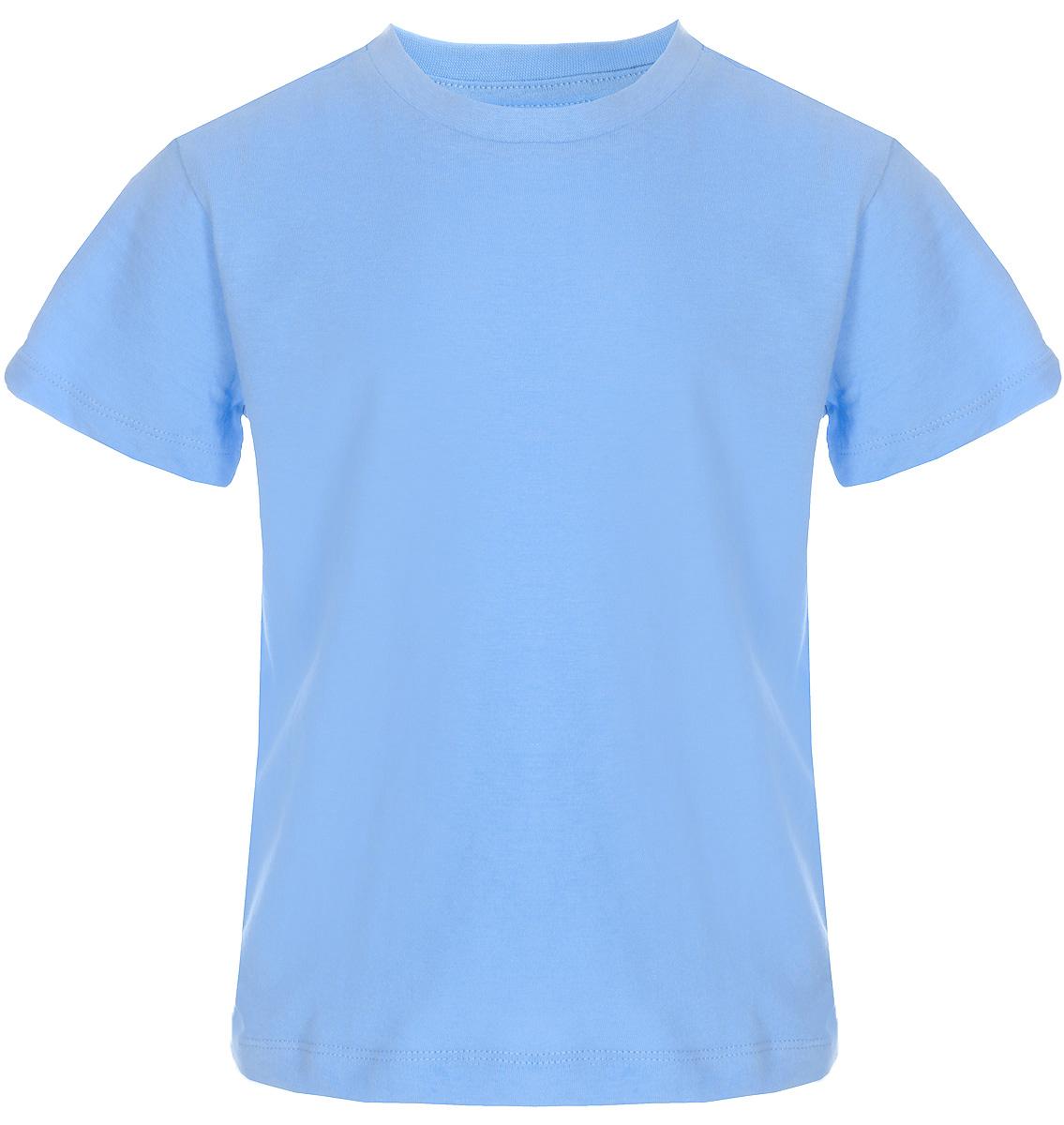 Футболка для мальчика Sela, цвет: голубой. Ts-711/533-8223. Размер 104Ts-711/533-8223Футболка для мальчика Sela выполнена из натурального хлопка. Модель с круглым вырезом горловины и короткими рукавами.
