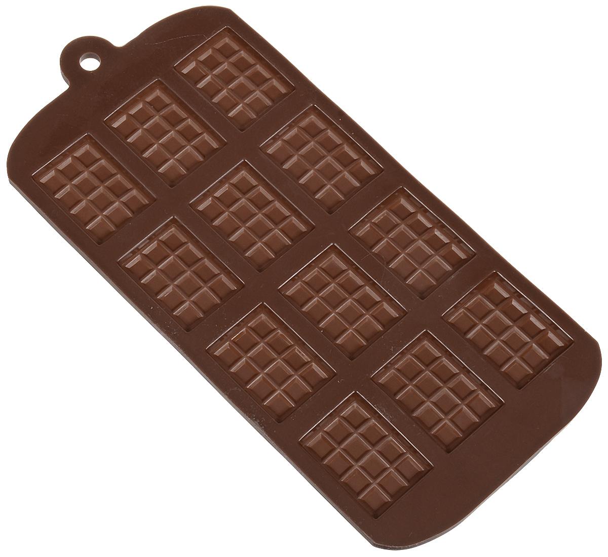 """Фигурная форма для льда и шоколада Доляна """"Плитка"""" выполнена из пищевого силикона, который не впитывает запахов, отличается прочностью и долговечностью. Материал полностью безопасен для продуктов питания. Кроме того, силикон выдерживает температуру от -40°С до +250°С, что позволяет использовать форму в духовом шкафу и морозильной камере. Благодаря гибкости материала готовый продукт легко вынимается и не крошится.  С помощью такой формы можно приготовить оригинальные конфеты и фигурный лед. Приготовить миниатюрные украшения гораздо проще, чем кажется. Наполните силиконовую емкость расплавленным шоколадом, мастикой или водой и поместите в морозильную камеру. Вскоре у вас будут оригинальные фигурки, которые сделают запоминающимся любой праздничный стол! В формах можно заморозить сок или приготовить мини-порции мороженого, желе, шоколада или другого десерта. Особенно эффектно выглядят льдинки с замороженными внутри ягодами или дольками фруктов. Заморозив настой из трав, можно использовать его в косметологических целях.  Форма легко отмывается, в том числе в посудомоечной машине."""