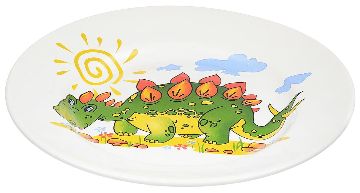 Кубаньфарфор Тарелка детская Динозаврики1494976Фаянсовая детская посуда с забавным рисунком понравится каждому малышу. Изделие из качественного материала станет правильным выбором для повседневной эксплуатации и поможет превратить каждый прием пищи в радостное приключение. Особенности: - простота мойки, - стойкость к запахам, - насыщенный цвет.