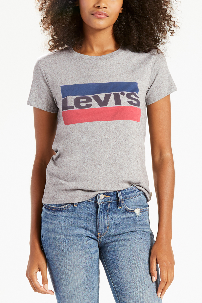 Футболка женская Levis®, цвет: серый. 1736903030. Размер XL (50)1736903030Футболка на каждый день из мягкого хлопка джерси с логотипом, созданным на основе олимпийской символики 1984 года.