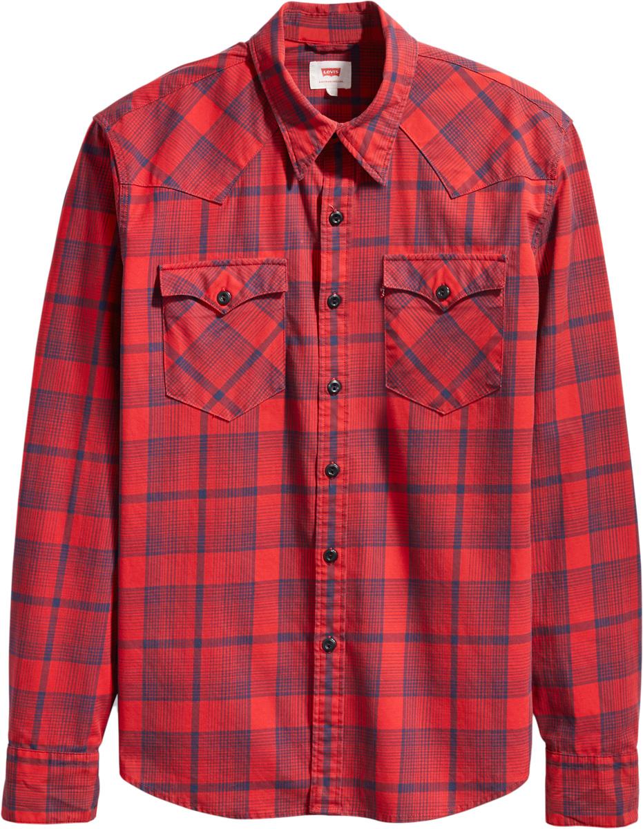 Рубашка мужская Levis® Barstow Western, цвет: красный, синий. 6581602570. Размер XXL (54)6581602570Рубашка прямого кроя Barstow Western отличается оригинальными ковбойскими элементами дизайна, оснащена нагрудными карманами и передней застежкой на кнопках.