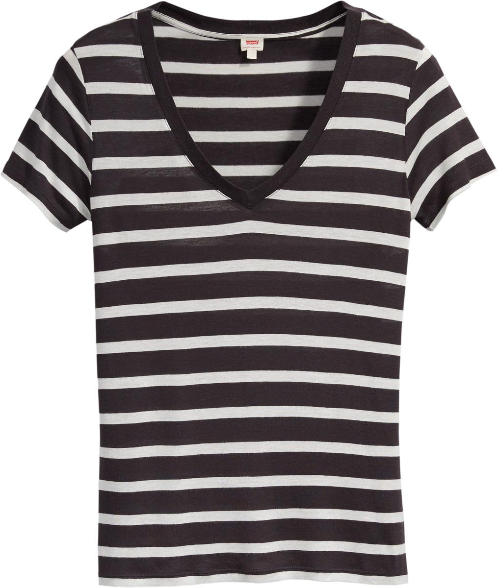 Футболка женская Levis®, цвет: белый, черный. 3939600070. Размер S (42/44)3939600070Универсальная футболка прямого кроя с V-образным вырезом.