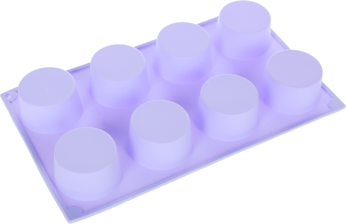 Форма для выпечки Доляна Шайба, цвет: сиреневый, 29 х 17 х 3,5 см, 8 ячеек1057136_сиреневыйФорма для выпечки из силикона Доляна Шайба- современное решение для практичных и радушных хозяек. Оригинальный предмет позволяет готовить в духовке вкуснейшую выпечку.Особенности: - блюдо сохраняет нужную форму и легко отделяется от стенок после приготовления; - высокая термостойкость позволяет применять форму в духовых шкафах и морозильных камерах; - силикон пригоден для посудомоечных машин; - высокопрочный материал делает форму долговечным инструментом; - при хранении предмет занимает мало места. Советы по использованию формы: Перед первым применением промойте предмет теплой водой. В процессе приготовления используйте кухонный инструмент из дерева, пластика или силикона.Перед извлечением блюда из силиконовой формы дайте ему немного остыть, осторожно отогните края предмета.