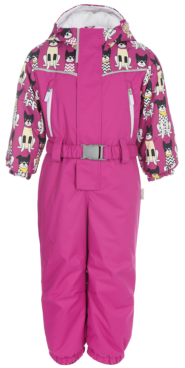 Комбинезон для девочки Boom!, цвет: розовый. 80045_BOG. Размер 9280045_BOGЯркий и стильный комбинезон из ткани с мембранным покрытием. Модель с капюшоном и длинными рукавами застегивается на комбинированную застежку.