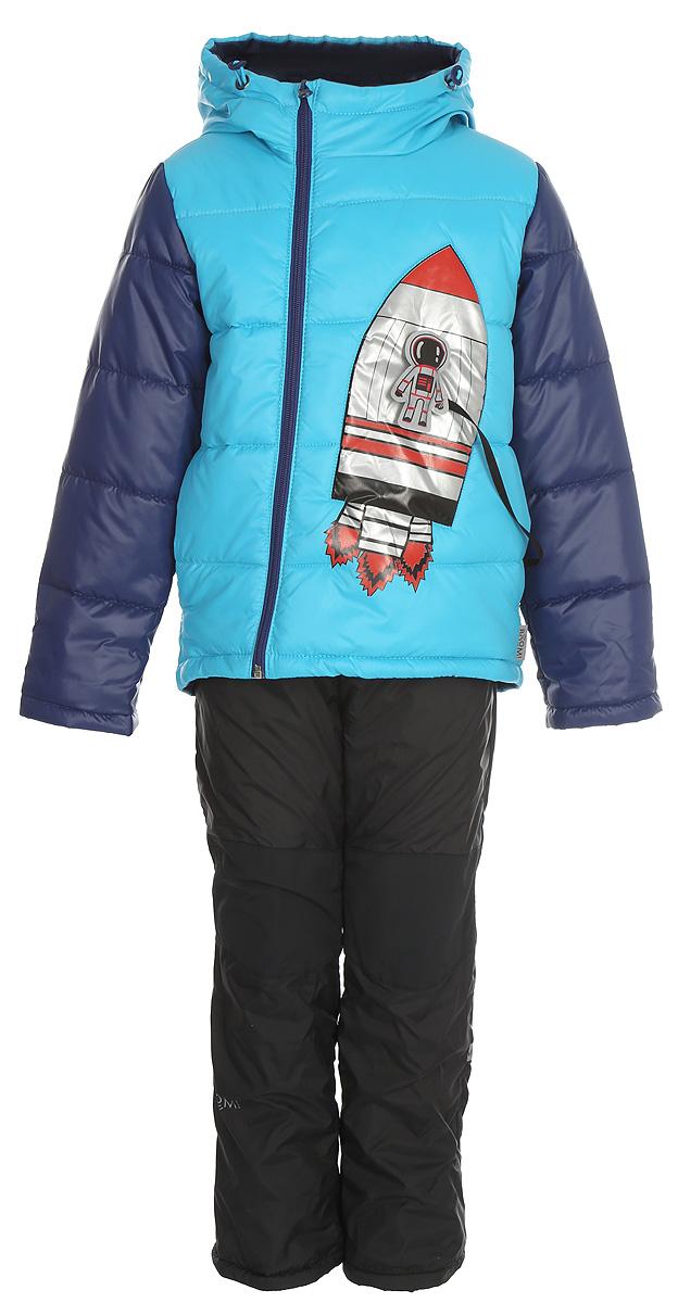 Комплект верхней одежды для мальчика Boom!: куртка, брюки, цвет: синий. 80038_BOB. Размер 10480038_BOBКомплект для мальчика Boom! включает в себя куртку и брюки. Куртка с длинными рукавами и капюшоном выполнена из прочного полиэстера. Модель застегивается на застежку-молнию спереди. Теплые брюки на талии дополнены широкой эластичной резинкой.