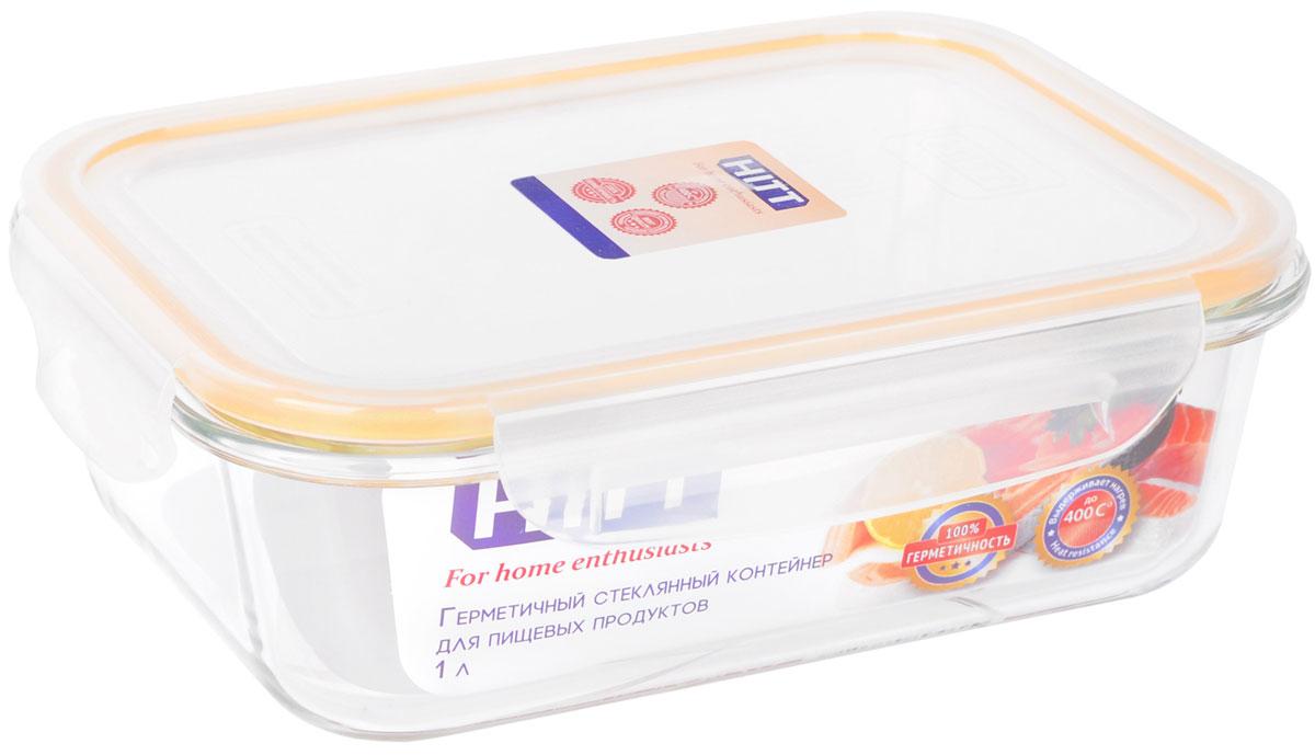 Контейнер пищевой HITT, цвет: прозрачный, желтый, 630 млH241033Контейнер можно использовать в духовке (без крышки), СВЧ-печи, посудомоечной машине, термостойкий (400°C). Стекло устойчиво к температурным перепадам до 120°C. Повышенная ударопрочность, стойкость к деформации. Полная непроницаемость воды и запахов. Стойкость к окраске.