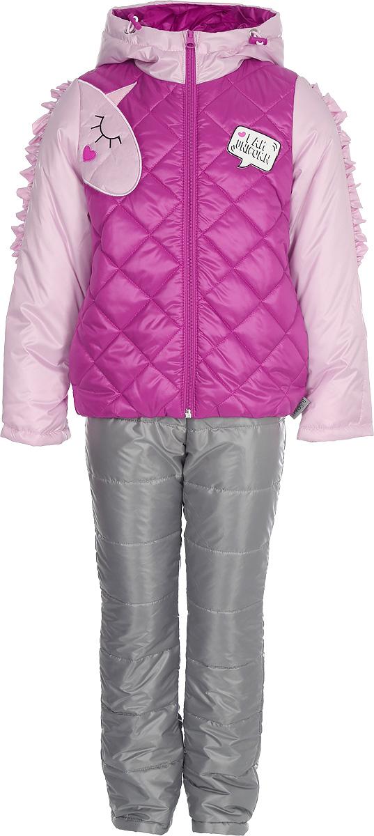 Комплект верхней одежды для девочки Boom!: куртка, брюки, цвет: ярко-розовый. 80026_BOG. Размер 9280026_BOGКомплект для девочки Boom! включает в себя куртку и брюки. Куртка с длинными рукавами и капюшоном выполнена из прочного полиэстера и имеет подкладку из полиэстера и хлопка. Модель застегивается на застежку-молнию. Теплые брюки на талии дополнены широкой эластичной резинкой. Особую изюминку модели придают рюши на рукавах, похожие на гриву единорога, и конфетные оттенки цвета. Благодаря наличию манжетов-отворотов на курточке и брючках, комплект прослужит не один сезон.