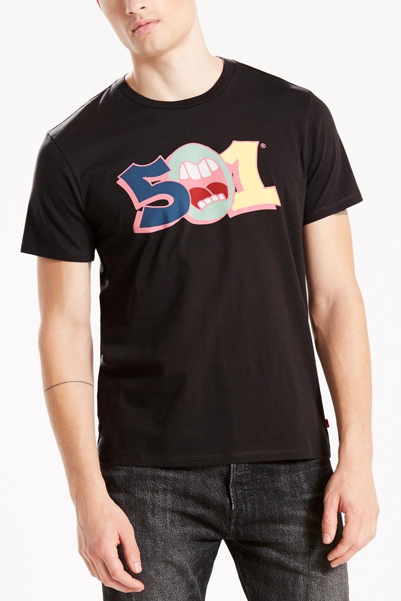 Футболка мужская Levis®, цвет: черный. 2657200340. Размер M (48)2657200340Комфортная футболка из хлопка украшена стильным графическим принтом.