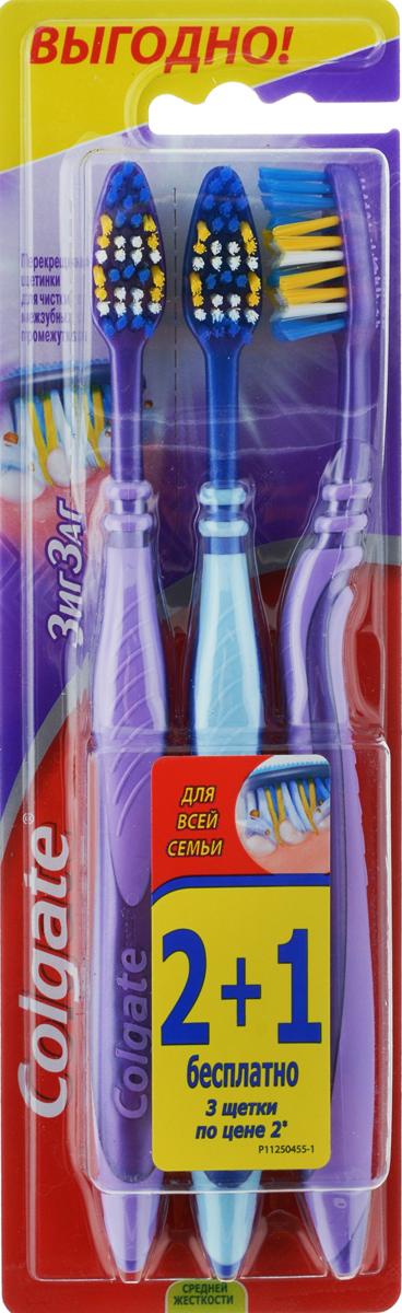 Colgate Зубная щетка Зиг-Заг, средней жесткости, 2+1, цвет: 1 сиреневый, 2зеленый358100_оранжевый