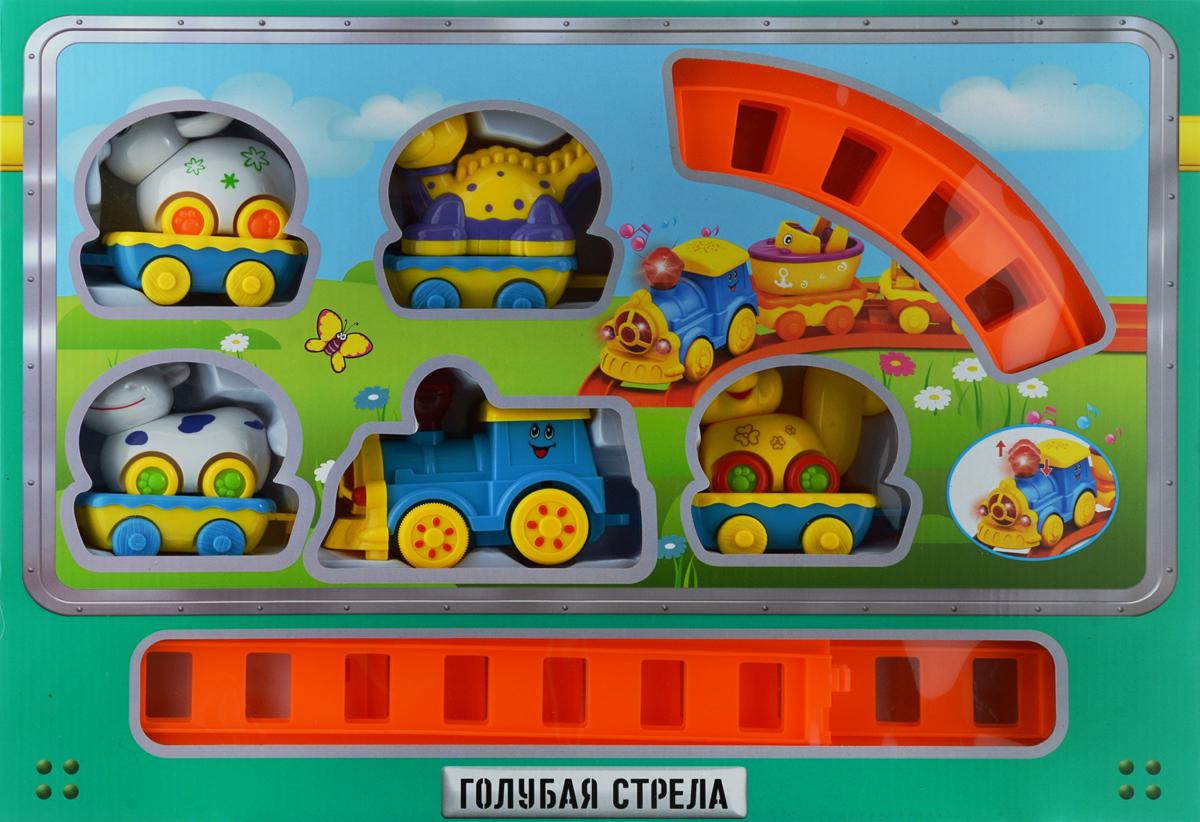 Голубая стрела Железная дорога Веселое путешествие цвет голубой желтый белый - Железные дороги