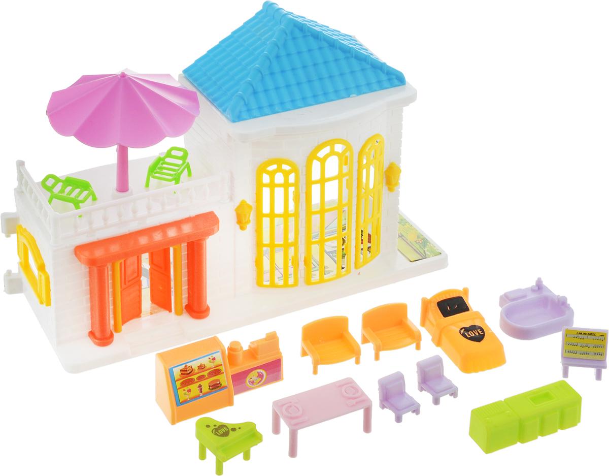 EstaBella Кукольный домик Солнечный городок улица Зеленая дом 2 с мебелью цвет голубой розовый желтый э цюрупа улица зеленая