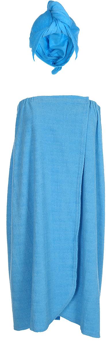 Комплект женский для бани и сауны ГлавбаняБ262_голубойКомплект женский для бани и сауны Главбаня, цвет: голубой, 2 предмета