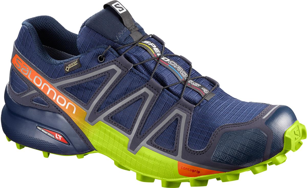 Кроссовки для бега мужские Salomon Speedcross 4 GTX, цвет: синий. L40093800. Размер 9,5 (42,5)L40093800Мужские кроссовки для бега Salomon выполнены из текстиля. Подъем оформлен шнуровкой, благодаря которой обувь сидит плотно на ноге. Язычок дополнен текстильной нашивкой с символикой бренда. Мягкая верхняя часть и подкладка, изготовленная из текстиля, обеспечивают дополнительный комфорт и предотвращают натирание. Подошва четвертого поколения легендарной модели Speedcross еще более агрессивно впечатывается в мягкий грунт при беге по пересеченной местности. Конструкция Endofit и Sensifit гарантируют оптимальную поддержку стопы, не снижая комфорт. Непромокаемая дышащая мембрана GORE-TEX защищает в любое время года. Такие кроссовки займут достойное место в коллекции вашей спортивной обуви.