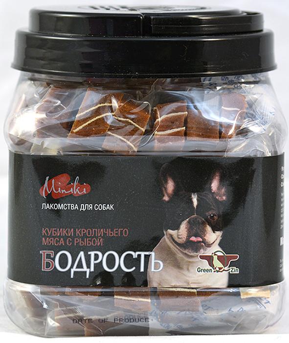 Лакомство для собак GreenQZin  Миники Бодрость , кубики мяса кролика с суримми для мини пород, 630 г - Корма и лакомства