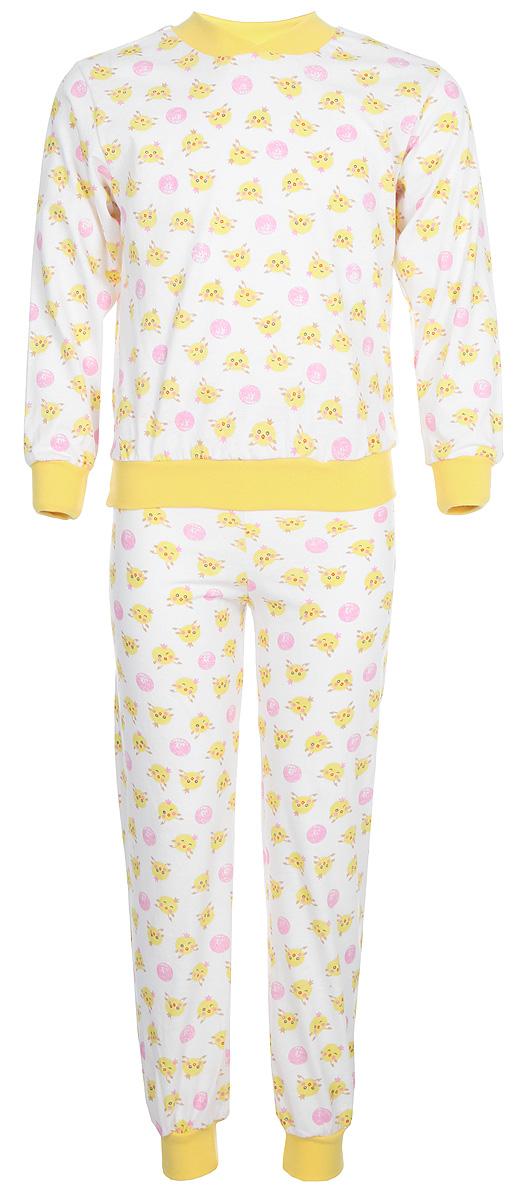 Пижама для девочки Чудесные одежки, цвет: желтый, белый, розовый. 5. Размер 134/1405Яркая детская пижама Трон-плюс, состоящая из кофточки и штанишек, идеально подойдет вашему малышу и станет отличным дополнением к детскому гардеробу. Теплая пижама, изготовленная из кулирки - натурального хлопка, необычайно мягкая и легкая, не сковывает движения ребенка, позволяет коже дышать и не раздражает даже самую нежную и чувствительную кожу малыша. Кофта с длинными рукавами имеет круглый вырез горловины. Штанишки на удобной резинке не сдавливают животик ребенка и не сползают. Низ брючин и рукавов оформлены широкими эластичными манжетами. В такой пижаме ваш ребенок будет чувствовать себя комфортно и уютно во время сна.