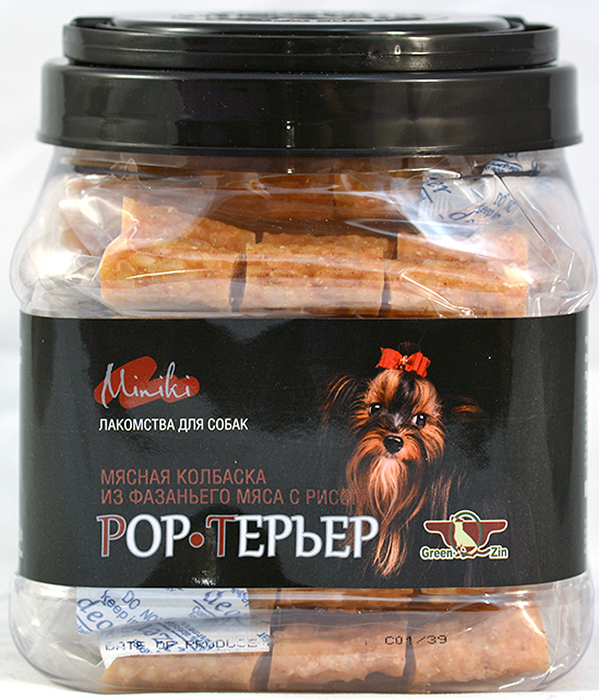 Лакомство для собак GreenQZin  Pop-терьер , мясные колбаски из фазаньего мяса с рисом для мини пород, 750 г - Корма и лакомства