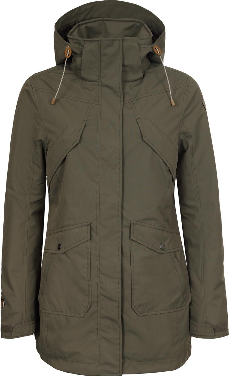 Куртка женская Icepeak, цвет: темно-зеленый. 953007817XV_580. Размер 42 (48/50)953007817XV_580Женская удлиненная куртка Icepeak выполнена из полиэстера. Модель застегивается на молнию. Имеет внешнюю ветрозащитную планку, воротник-стойку с капюшоном, 2 накладных кармана с клапанами и 2 прорезных кармана на молнии. Капюшон оснащен стяжками с пластиковыми фиксаторами. Манжеты рукавов регулируются с помощью липучек.