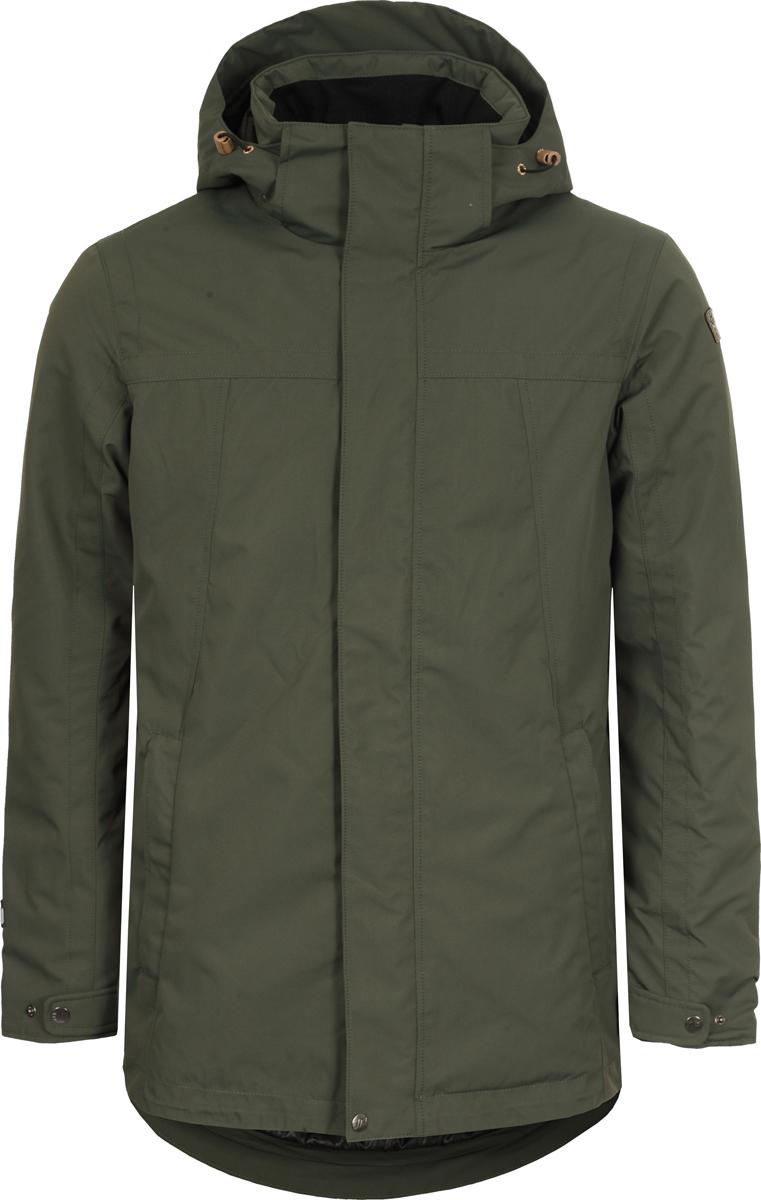 Куртка мужская Icepeak, цвет: темно-зеленый. 956038817XV_585. Размер 54956038817XV_585Мужская куртка Icepeak выполнена из полиэстера. Специальный материал отводит излишки тепла и влаги, обеспечивая комфорт. Куртка водонепроницаемая, благодаря специальной мембране. Модель застегивается на молнию. Имеет внешнюю ветрозащитную планку на кнопках, воротник-стойку с капюшоном, 2 кармана на молнии. Капюшон оснащен стяжками с пластиковыми фиксаторами. Манжеты рукавов регулируются с помощью кнопок.