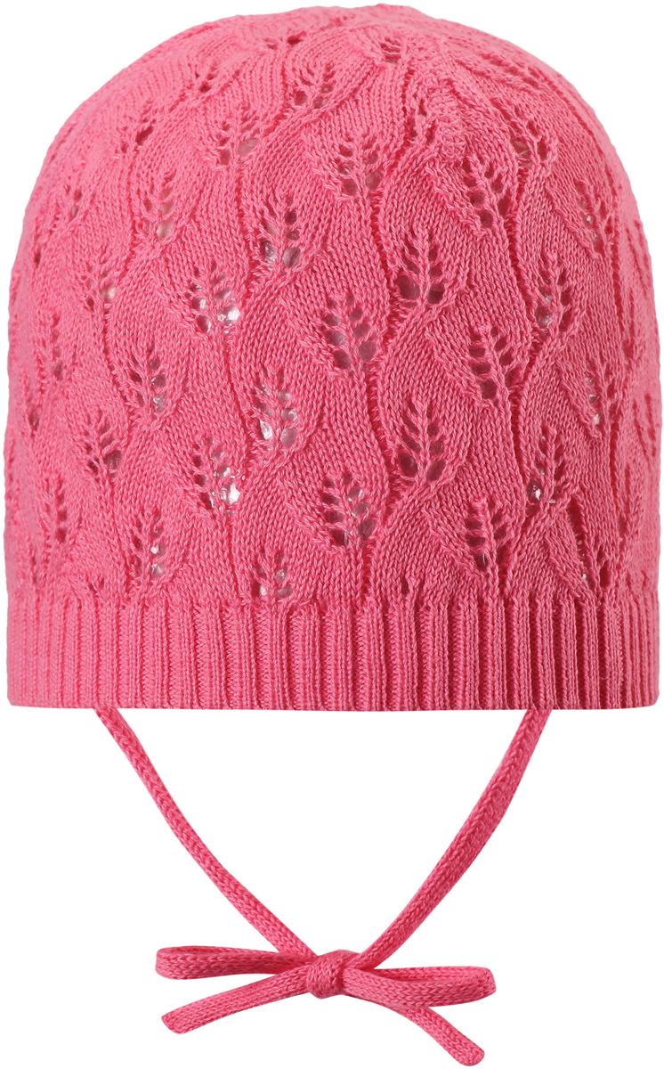 Шапка для девочки Reima Lilja, цвет: розовый. 5285763290. Размер 445285763290Новая ажурная шапка от Reima для малышей связана из эластичной и удобной хлопковой пряжи, к тому же в ней нет подкладки – такая облегченная модель идеально подойдет для летнего вечера. Завязки в размерах 44/46 и 48/50. Сертифицировано Oeko-Tex.