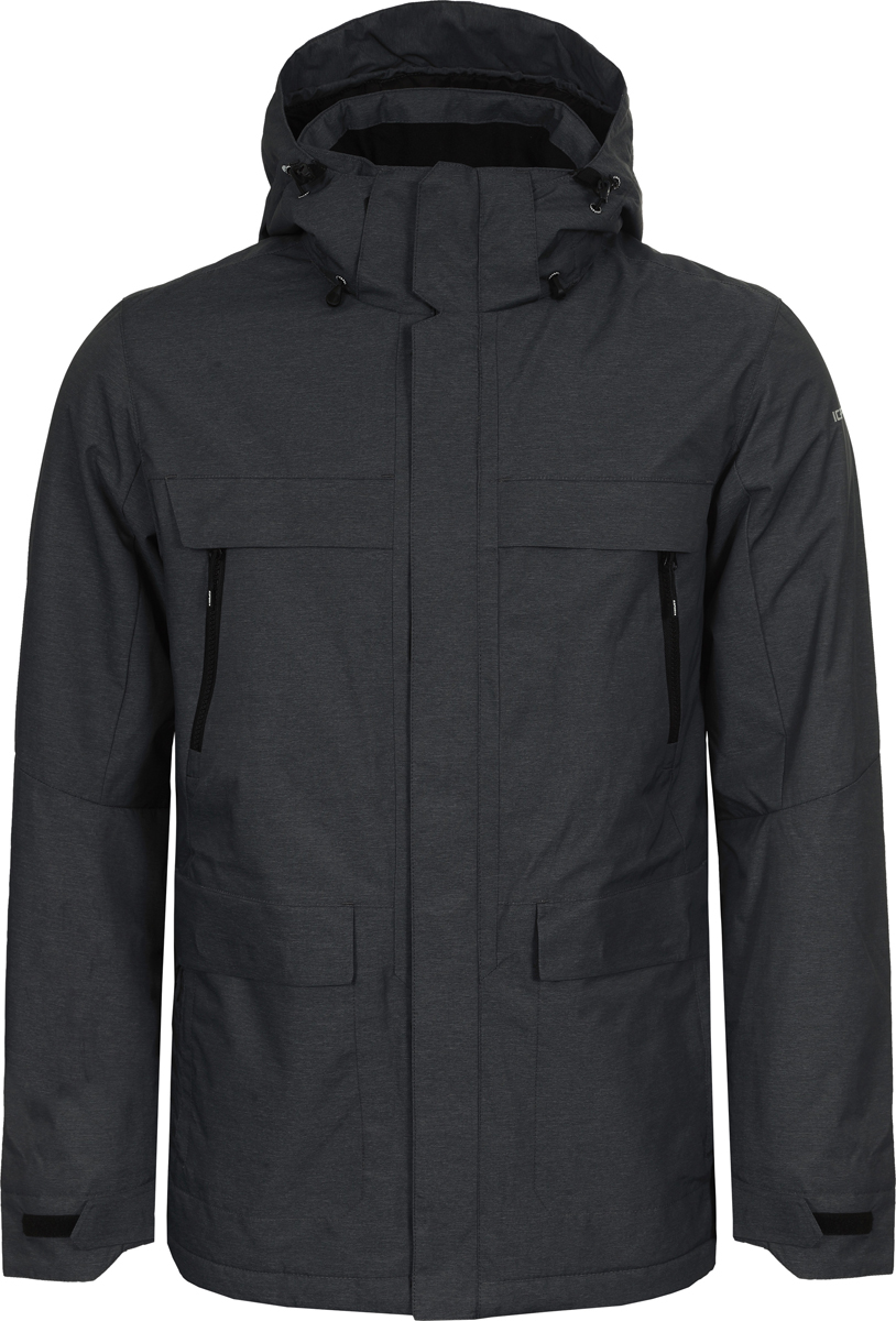 Куртка мужская Icepeak, цвет: cиний. 956237871XV_384. Размер 48956237871XV_384Мужская куртка Icepeak выполнена из полиамида с добавлением полиэстера. Модель застегивается на молнию с внешней ветрозащитной планкой. Имеет воротник-стойку с капюшоном, 2 накладных кармана с клапанами и 2 прорезных кармана на молнии. Капюшон оснащен стяжками с пластиковыми фиксаторами. Манжеты рукавов регулируются с помощью липучек.