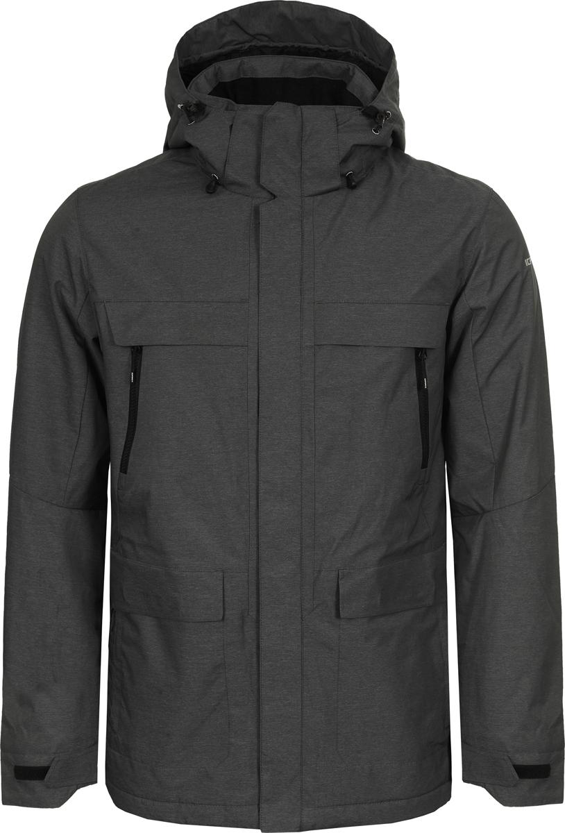 Куртка мужская Icepeak, цвет: серый. 956237871XV_260. Размер 54956237871XV_260Мужская куртка Icepeak выполнена из полиамида с добавлением полиэстера. Модель застегивается на молнию с внешней ветрозащитной планкой. Имеет воротник-стойку с капюшоном, 2 накладных кармана с клапанами и 2 прорезных кармана на молнии. Капюшон оснащен стяжками с пластиковыми фиксаторами. Манжеты рукавов регулируются с помощью липучек.