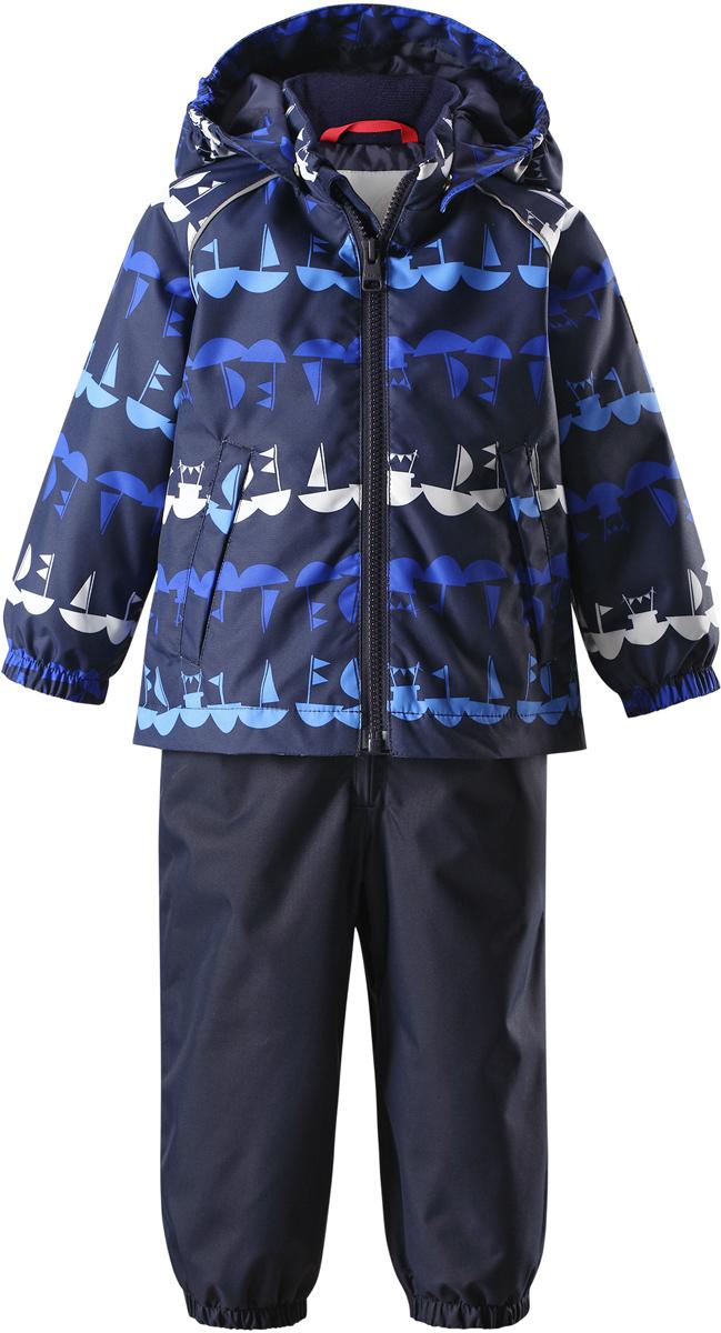 Комплект верхней одежды детский Reima Reimatec Naakeli: куртка, полукомбинезон, цвет: синий, темно-синий. 513115R6989. Размер 80