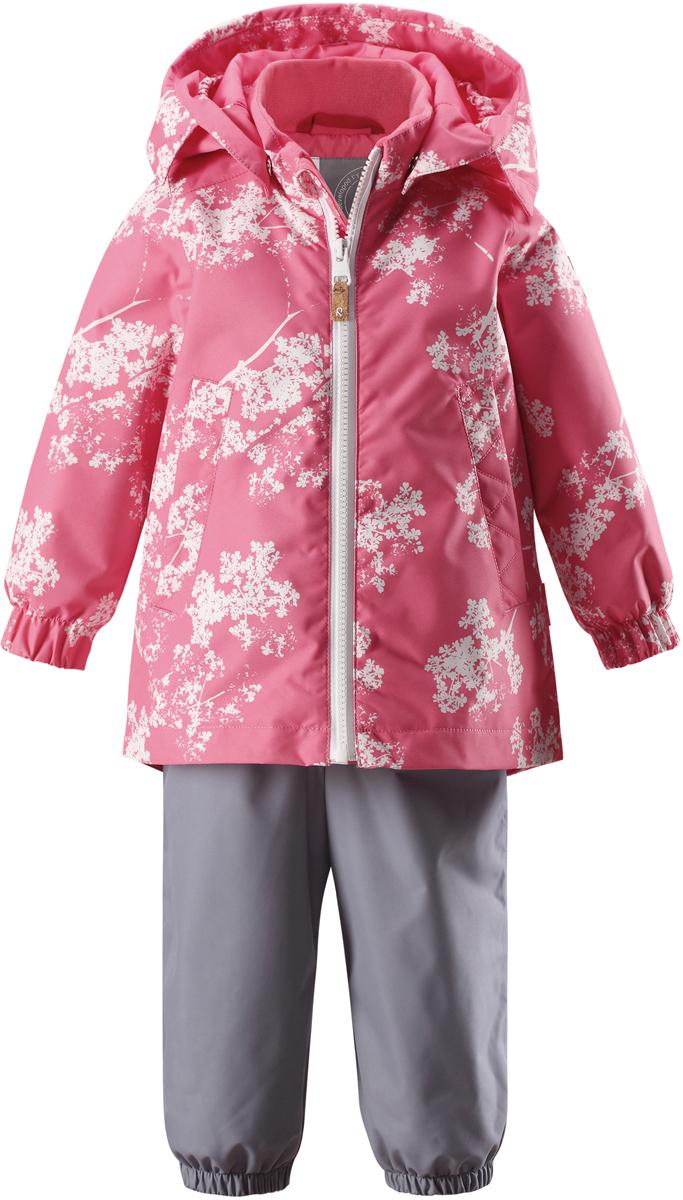 Комплект верхней одежды для девочки Reima Reimatec Nuotti: куртка, полукомбинезон, цвет: розовый, серый. 513114R3295. Размер 86513114R3295