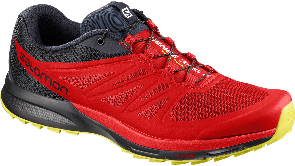 Кроссовки для бега мужские Salomon Sense Pro 2, цвет: красный. L40237900. Размер 9,5 (42,5)L40237900Почувствуй тропу под ногами.Найдите идеальный баланс между легким, чувствительным касанием тропы, необходимой амортизацией и защитой, которые позволят вам бежать километр за километром. С легкими трейлраннинговыми кроссовками SENSE PRO 2 бег подарит вам спокойствие нирваны.Ощущение тела в пространстве.Уникальная легкая защитная пленка-амортизатор Profeel защищает стопу от острых камней, а тонкая промежуточная подошва обеспечивает чувство поверхности.Легкий вес.Эта легкая обувь стала еще легче благодаря использованию сверхлегких материалов, сварных швов и низкопрофильной конструкции. Точная посадка.Конструкция Sensifit и шнуровка Quicklace с петельками с пониженным трением точно и удобно обхватывают стопу. Конструкция EndoFit улучшает чувствительность и повышает комфорт.
