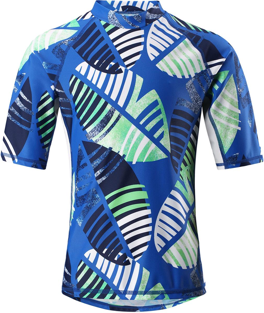 Футболка для плавания детская Reima Fiji, цвет: синий, зеленый. 5362686641. Размер 1345362686641