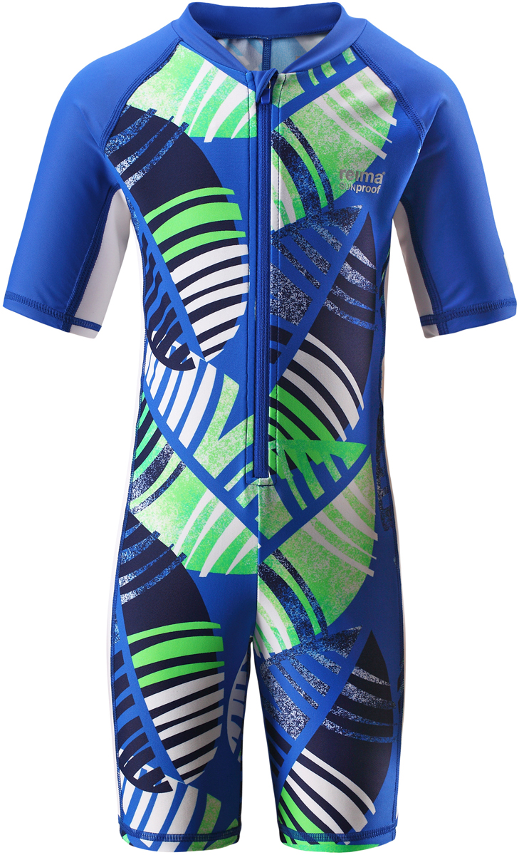 Купальный костюм детский Reima Galapagos, цвет: синий, зеленый. 5262916641. Размер 985262916641Этот цельный купальный костюм от Reima сделает принятие солнечных ванн безопасными. купальный костюм для детей из материала SunProof предназначен как для веселых плесканий в воде, так и для игр на пляже. Купальный костюм обеспечивает эффективную защиту от вредных солнечных лучей вплоть до локтей и колен благодаря УФ-фильтру 50+. Еще этот эластичный материал быстро сохнет, а молния спереди облегчает процесс одевания.