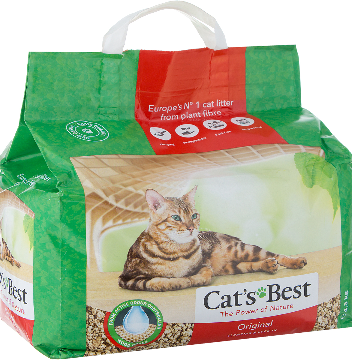 """Наполнитель древесный комкующийся Cat's Best """"Eko Plus"""", 10 л (4,3 кг)"""