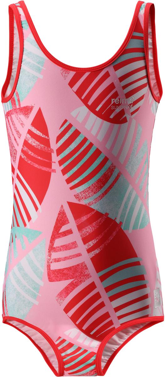 Купальник слитный для девочки Reima Sumatra, цвет: светло-розовый. 5362743341. Размер 1585362743341Спортивный слитный купальник от Reima для девочек ярких, пестрых расцветок. Сделанный из материала SunProof с УФ-фильтром 50+, этот купальник для детей быстро сохнет. Эластичная подкладка спереди обеспечивает дополнительный комфорт во время купания и веселых игр на пляже.