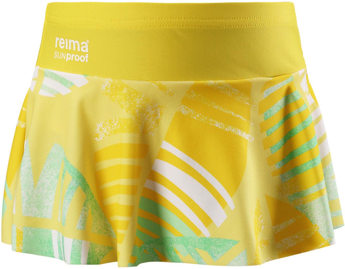 Купальные плавки для девочки Reima Atolli, цвет: желтый. 5262902331. Размер 1345262902331Плавки-бикини от Reima для девочек с симпатичной юбкой изготовленные из солнцезащитного материала SunProof с фактором УФ-защиты 50+, очень быстро сохнут. Эластичная сборка обеспечивает дополнительный комфорт во время плавания и веселых игр на пляже. Комбинируйте их с верхом бикини той же расцветки – и ваша русалочка будет просто неотразима!