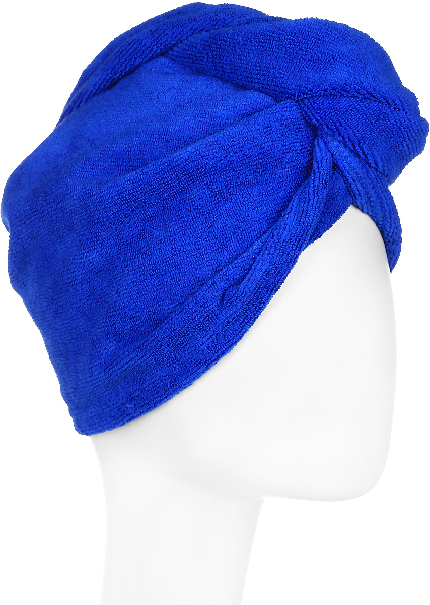 Тюрбан для сушки волос, цвет: синийБ901_синийТюрбан для сушки волос, цвет: синий