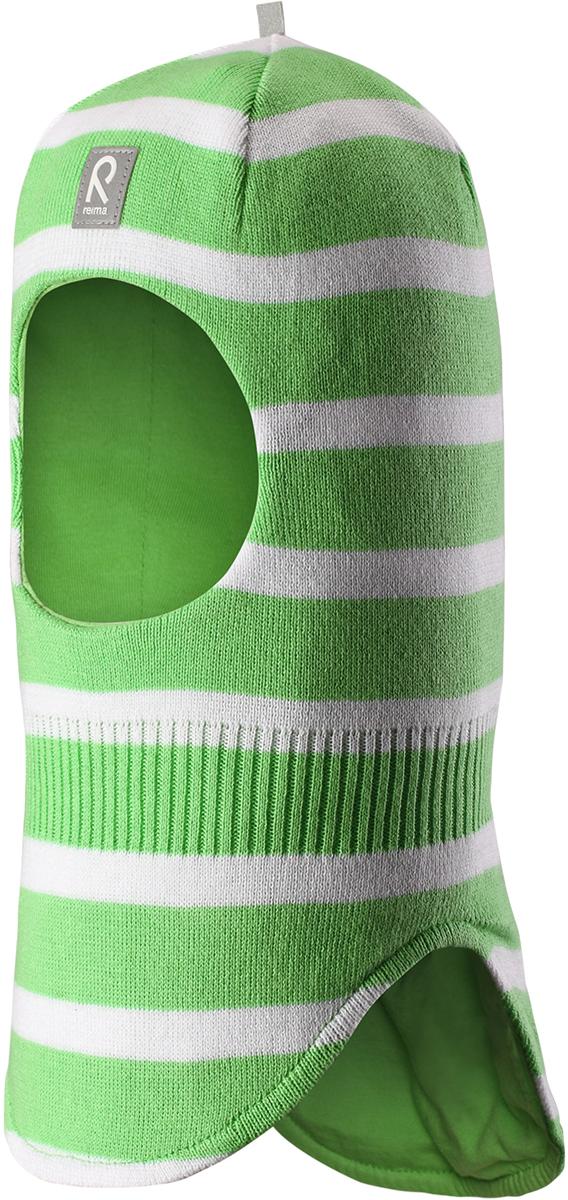 Шапка-шлем детская Reima Honka, цвет: зеленый. 5184528461. Размер 485184528461Классическая детская шапка-шлем от Reima– незаменимый аксессуар, ведь она согревает не только голову, но и шею. Эта шапка-шлем сшита из эластичного и дышащего хлопкового трикотажа на подкладке из гладкого хлопкового джерси. Новые свежие весенние расцветки! Изделие сертифицировано по стандарту Oeko-Tex.