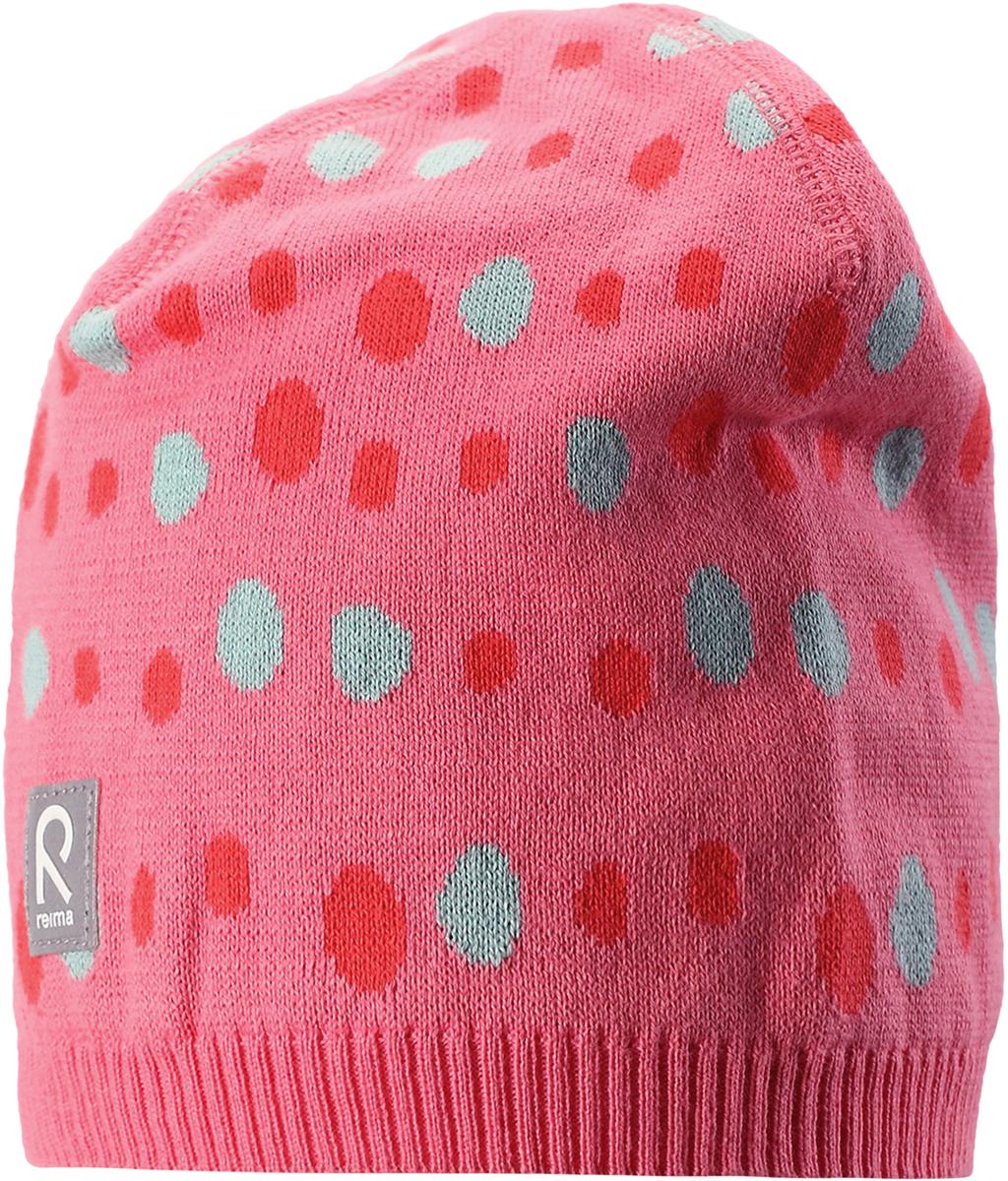 Шапка детская Reima Pulpo, цвет: розовый. 5285743291. Размер 525285743291Легкая трикотажная шапка -бини от Reima из хлопка без подкладки – идеальный вариант на летний вечер в ветреную погоду. Обратите внимание на декоративную структурную вязку и новые летние рисунки!