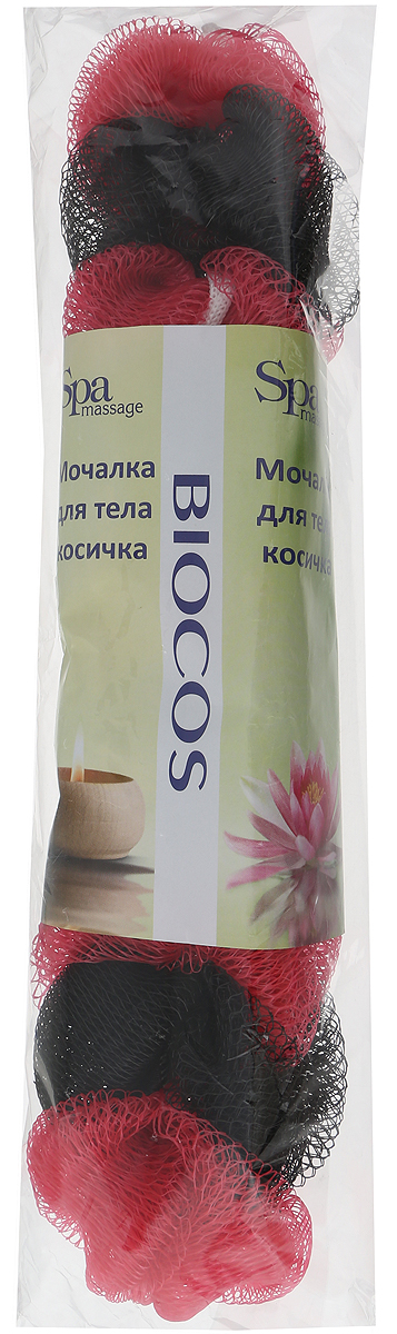 BioCos Мочалка для тела Косичка, цвет: красный, черный5955_красный,черныйBioCos Мочалка для тела Косичка, цвет: красный, черный