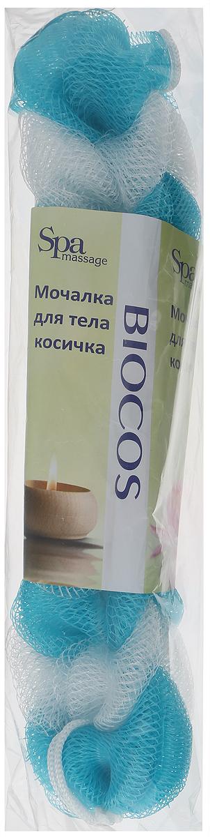 BioCos Мочалка для тела Косичка, цвет: бирюзовый, белый5955_бирюзовый,белыйBioCos Мочалка для тела Косичка, цвет: бирюзовый, белый