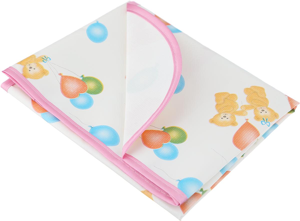 Колорит Клеенка подкладная с резинками-держателями цвет белый розовый 50 х 70 см -  Подгузники и пеленки
