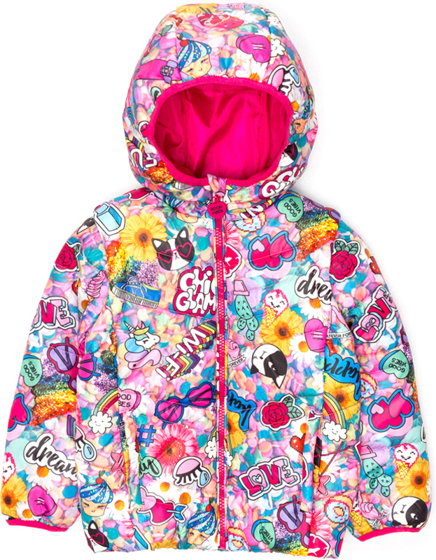 Куртка для девочки Acoola Geo, цвет: мультиколор. 20220130122_8000. Размер 9820220130122_8000Куртка для девочки Acoola Geo выполнена из полиэстера. Модель с капюшоном и длинными рукавами.