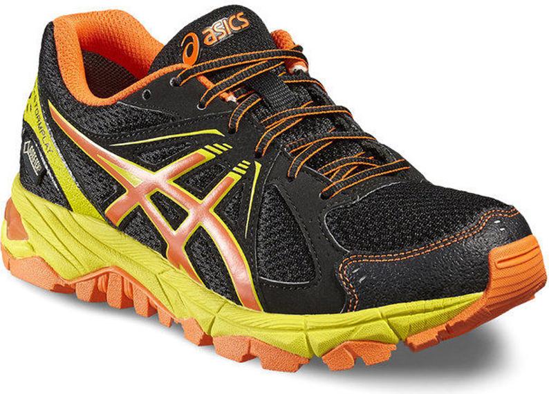 Кроссовки для девочки Asics Gel-Stormplay GS G-TX, цвет: черный, оранжевый. C526N-9009. Размер 1H (31,5)C526N-9009Благодаря верху, выполненному из материала Gore-Tex, ваши ноги останутся сухими даже в самый сильный дождь. Если дух свободы и приключений — это ваше, тогда вам обязательно понравится уличный стиль этих кроссовок.Активный образ жизни станет вашим девизом в любую погоду. Гелевая амортизация делает каждый шаг легче. Основательная и надежная подошва проявляет отличные свойства на любом покрытии.