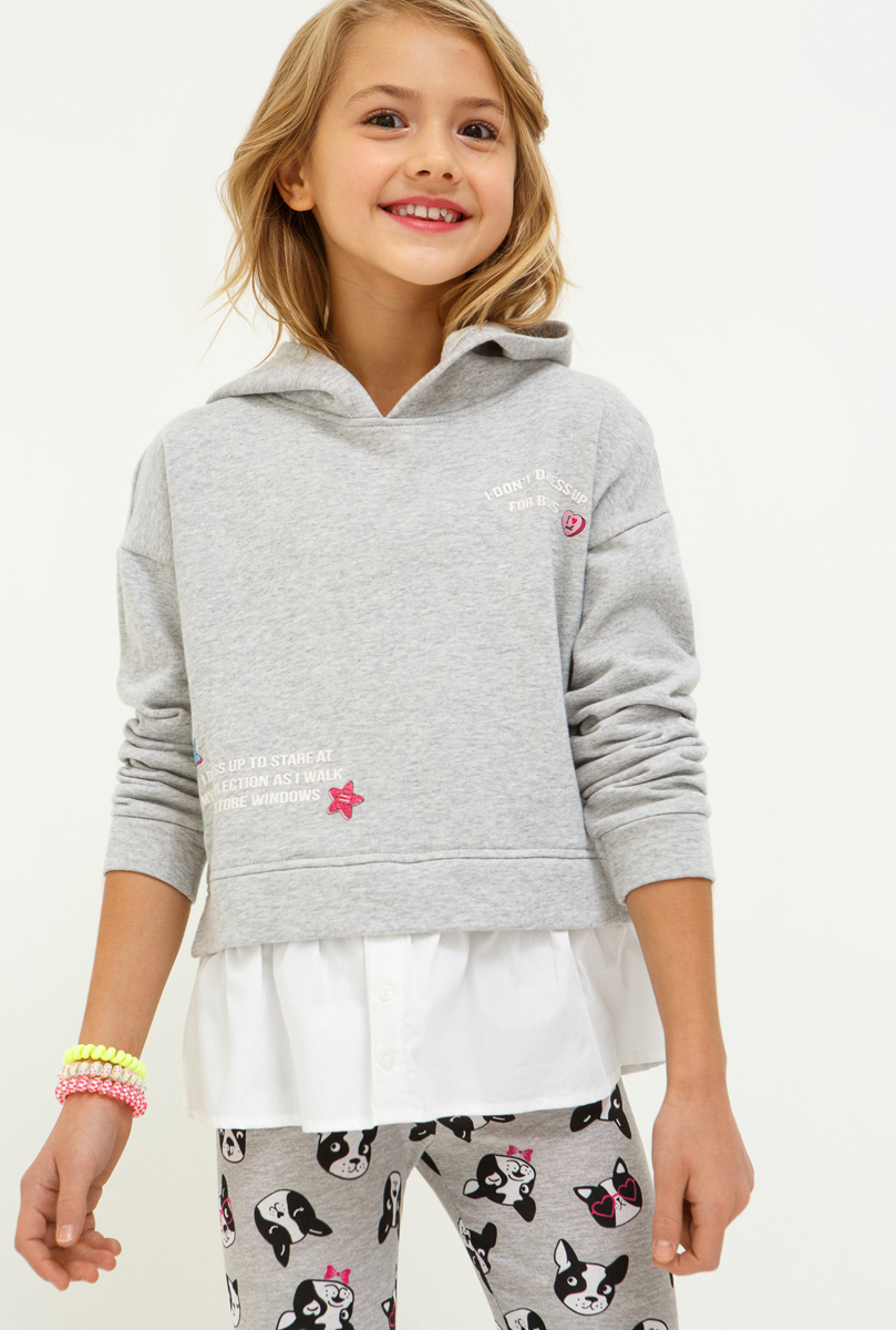 Толстовка для девочки Acoola Roza, цвет: светло-серый. 20210100157_1800. Размер 158