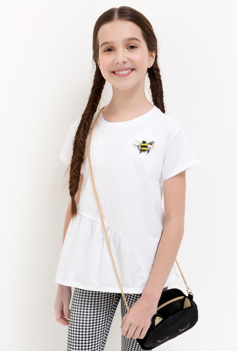 Футболка для девочки Acoola Musca, цвет: белый. 20210110126_200. Размер 158 футболка для девочки acoola aldan цвет белый 20214220019 200 размер 164
